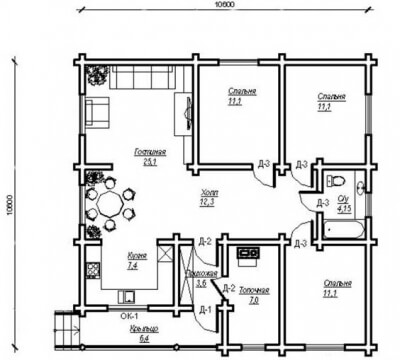 Дом из бревна №99Б