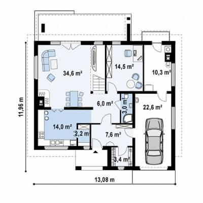 Каркасный дом №222Р
