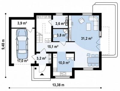 Каркасный дом №168Р2