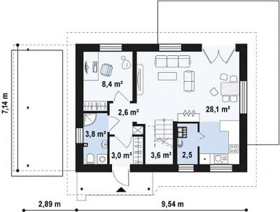 Каркасный дом №100Р2