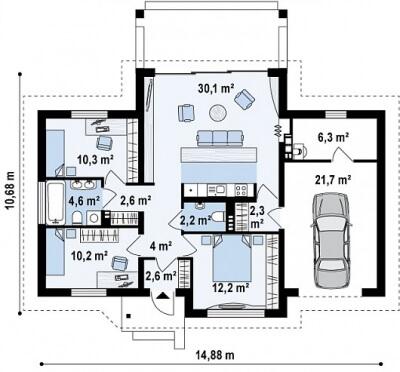 Каркасный дом №109Р3