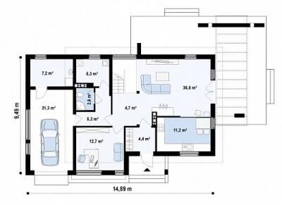 Каркасный дом №174Р