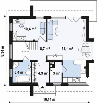 Каркасный дом №121Р3