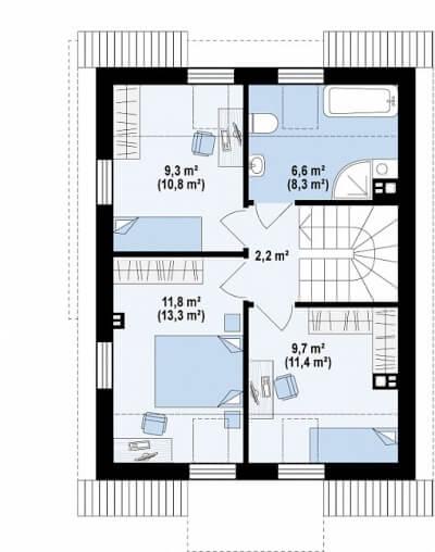 Каркасный дом №103Р2