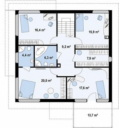 Каркасный дом №211Р2