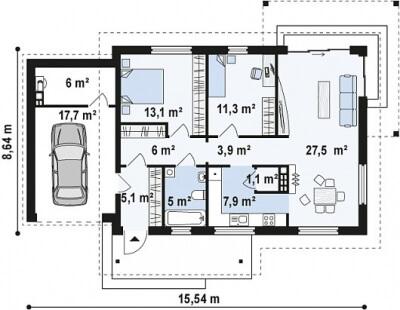 Каркасный дом №105Р3
