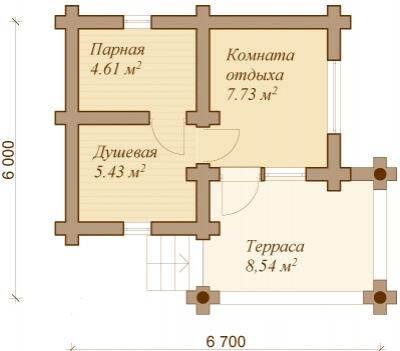 Каркасная баня №26Р