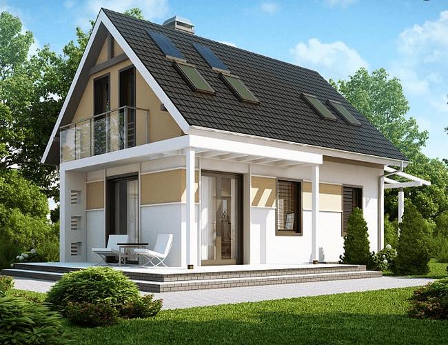 Деревянные дома до 100 кв.м с мансардой фото