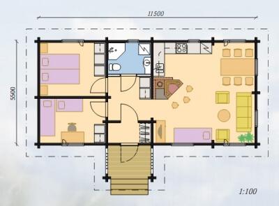 Дом из бревна №63Б