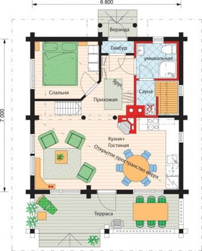 Дом из бревна №78Б