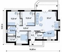 Каркасный дом №102Р2