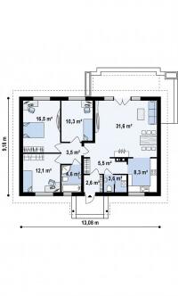 Каркасный дом №99Р3