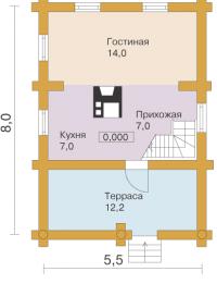Дом из бревна №84Б